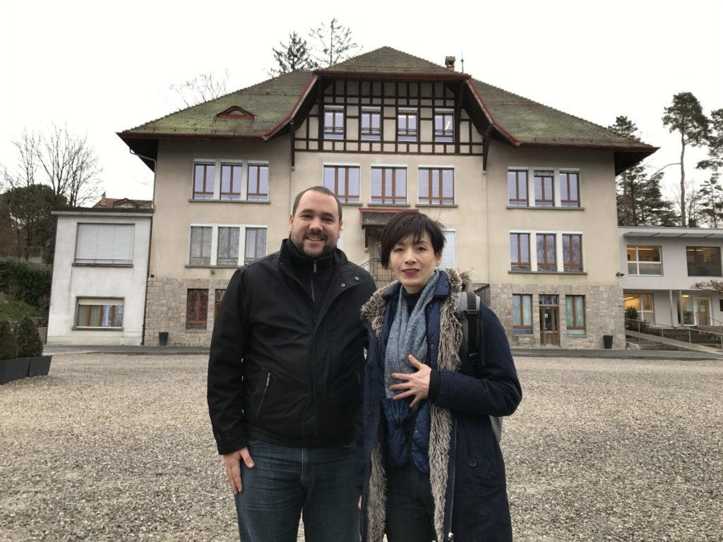 2018 年2月林肯Jennifer 參訪瑞士諾維爾住宿中學入學部主任合影2